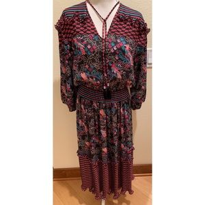 Vintage Diane Freis Bird Print Long Sleeve Dress